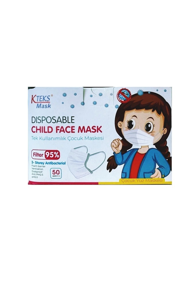 DISPOSABLE COCUK YUZ MASKESI 50 PCS