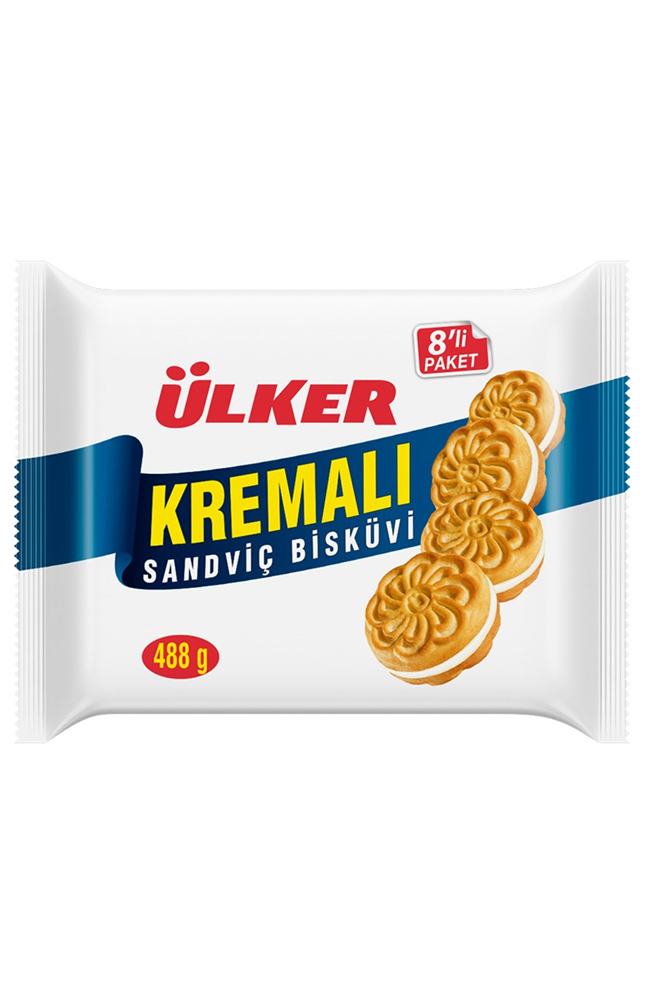 ULKER KREMALI SANDVICH BISKUVI 8 LI 488 GR